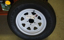 ST 175/ 80 R13 Duro Trailer wheel on white spoke rim $ 89.00