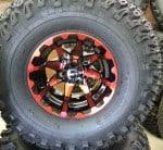 Custom 22×11-10 Red HD3 wheels on Duro Desert Tires