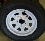 ST 175/ 80 R13 Duro Trailer wheel on white spoke rim