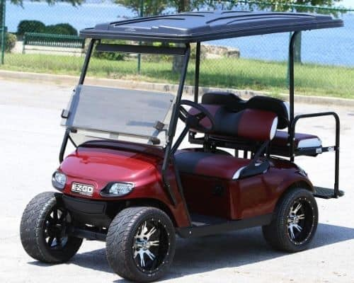 EZGO with Burgundy Painted Body (Oblique)