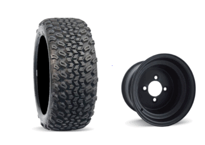 Duro Desert 22x11-10 on Black Steel Rim off road golf cart tire
